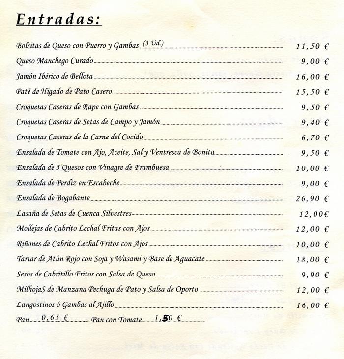 la carta  platos y precios hotel restaurante setos